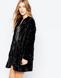 Pull And Bear Pullandbear Faux Fur Coat Black