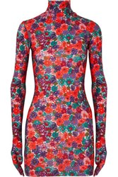 Vetements Floral Print Stretch Jersey Mini Dress Red