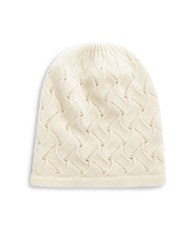 Lord And Taylor Pointelle Cashmere Hat Ivory