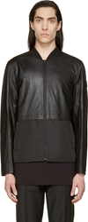 Alexander Wang Black Paper Leather Bomber Jacket