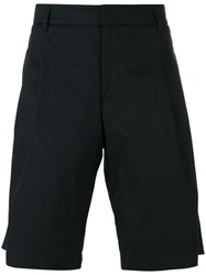 Les Hommes Pleated Detail Bermudas Men Cotton Spandex Elastane 50 Black