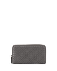Bottega Veneta Continental Zip Around Wallet Gray