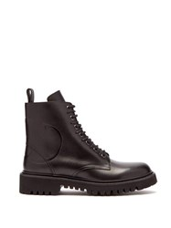 Valentino V Logo Lace Up Leather Boots Black