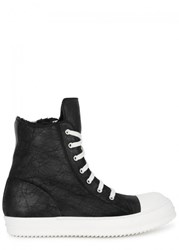 Rick Owens Shearling Lined Leather Hi Top Trainers Black