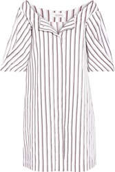 Isa Arfen Striped Cotton Poplin Mini Dress White