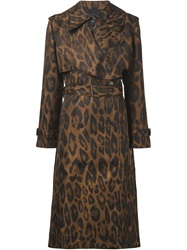 Lanvin Leopard Print Belted Trench Coat Brown