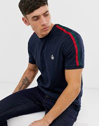 Original Penguin T Shirt In Navy With Side Stripe