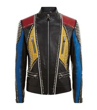 Philipp Plein Funky Town Studded Leather Jacket Male Black