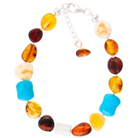 Be Jewelled Sterling Silver Baltic Amber Bead Bracelet Amber