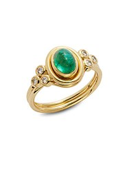 Temple St. Clair Emerald Diamond And 18K Yellow Gold Oval Ring