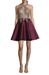 Xscape Evenings Embellished Embroidered Mikado Party Dress Wine Gold
