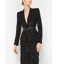 Floral Embroidered Stretch Pebble Crepe Dinner Jacket Black