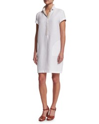 Loro Piana Nicole Short Sleeve Linen Polo Dress White Men's Size 42