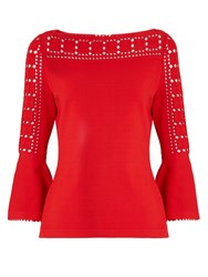 Fendi Geometric Crepe Top Red