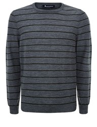 Aquascutum London Rolfe Stripe Crew Neck Knit Grey Marl