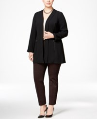 Alfani Plus Size Open Front Zip Pocket Jacket Only At Macy's Deep Black