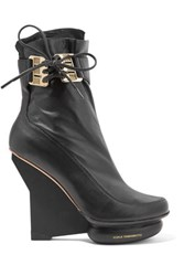 Y 3 Adidas Originals Arkque Mesh Trimmed Leather Ankle Boots Black