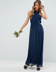 Asos Chiffon Twist Front Ruched Maxi Dress Navy