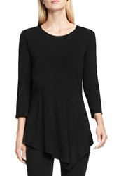 Vince Camuto Women's Asymmetrical Panel Hem Top Rich Black