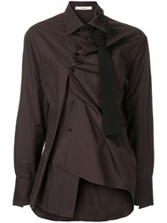 Aganovich Asymmetric Fitted Shirt Cotton Brown