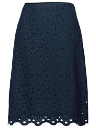 Fat Face Claire Scallop Hem Skirt Navy