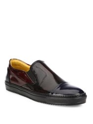 Saks Fifth Avenue Leather Cap Toe Slip On Sneakers Cordovan