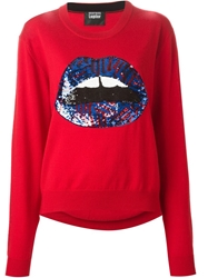 Markus Lupfer 'Lara' Sequin Lips Sweater Red