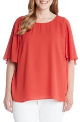 Karen Kane Plus Size Women's Crepe Cape Sleeve Top Red