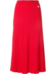 Courreges Ribbed Flared Skirt Cotton Polyamide Cashmere