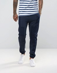 Asos Skinny Joggers With In Polytricot With Woven Panels In Navy Navy Blue