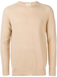 Ma'ry'ya Round Neck Sweater Nude And Neutrals