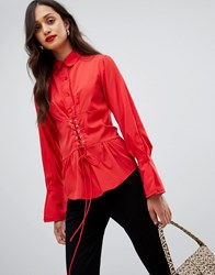 Ax Paris Long Sleeve Shirt With Corset Detail Red
