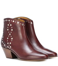 Isabel Marant Dacken Studded Leather Ankle Boots Red