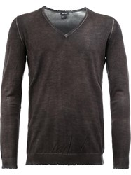Avant Toi Distressed V Neck Jumper Grey