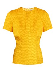 Emilia Wickstead Daisy Cut Out Chevron Matelasse Top Yellow