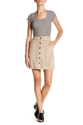 14Th And Union Faux Suede Button Mini Skirt Petite Gray