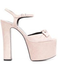 Saint Laurent 'Betty 80' Bow Sandals Pink Purple