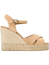 Castaner Castaner Sling Back Straw Effect Wedge Sandals Nude And Neutrals