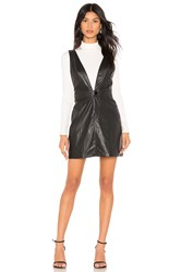 Show Me Your Mumu Baxter Faux Leather Overall Dress Black