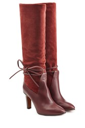Chloe Suede And Leather Boots With Side Tie Red