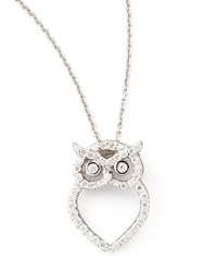 18K White Gold Diamond Owl Necklace Roberto Coin