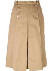 Carven Pleated Midi Skirt Nude And Neutrals