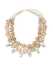 Saks Fifth Avenue Crystal Stoned Statement Necklace Gold