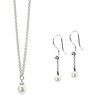 Trollbeads Freshwater Pearl Pendant Necklace And Drop Earrings Set Silver White