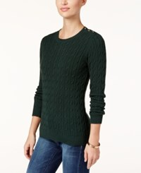 Charter Club Petite Cable Knit Sweater Only At Macy's Dark Evergreen