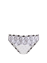 Fleur Of England Floral Embroidered Tulle And Satin Briefs White Black