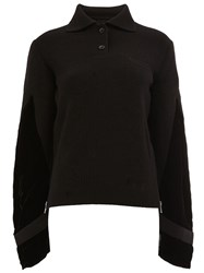 Sacai Velvet Sleeve Jumper Black