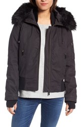 French Connection Women's Faux Fur Trim Wax Cotton Bomber Jacket Black
