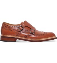Oliver Sweeney Brantham Double Buckle Leather Monk Shoes Brown