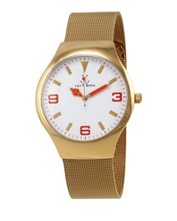 Toywatch Golden Mesh Bracelet Watch Orange